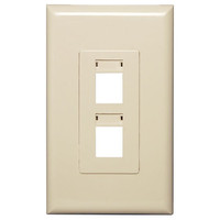 Channel Vision Screwless Keystone Wallplate, 1-Gang, 2-Port (with ID Label), Almond