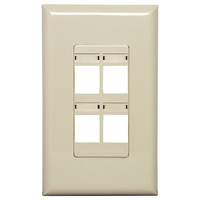 Channel Vision Screwless Keystone Wallplate, 1-Gang, 4-Port (with ID Label), Almond