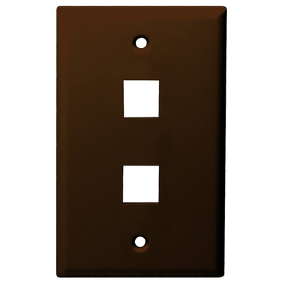 DataComm Keystone Wallplate, 1-Gang, 2-Port, Brown
