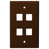 DataComm Keystone Wallplate, 1-Gang, 4-Port, Brown