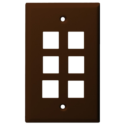 DataComm Keystone Wallplate, 1-Gang, 6-Port, Brown