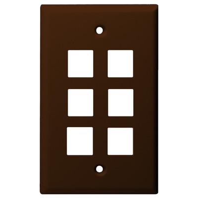 DataComm Keystone Wallplate, 1-Gang, 6-Port, Brown