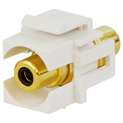 DataComm RCA Keystone Snap-In Connector, Black Insert, White