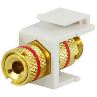 DataComm Binding Post Keystone Snap-In Connector, Red Stripe, White
