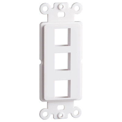DataComm Keystone Decorator Strap, 3-Port, White