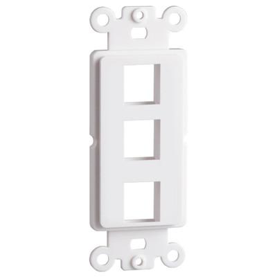 DataComm Keystone Decorator Strap, 3-Port, White