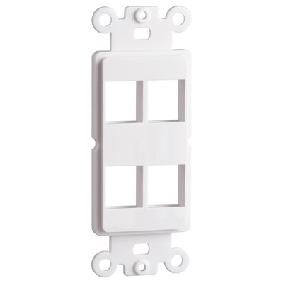 DataComm Keystone Decorator Strap, 4-Port, White