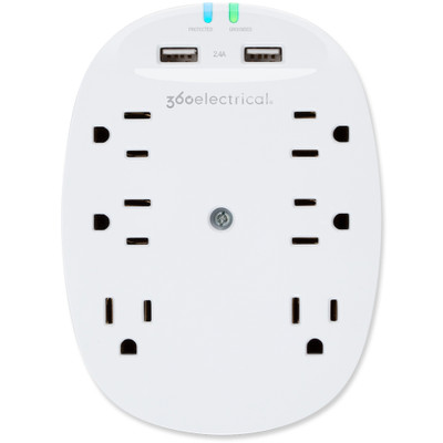360 Electrical Studio2.4 Surge Protector with 6 Outlets and USB