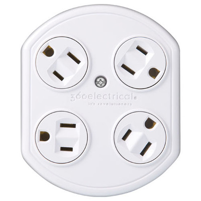 360 Electrical 4-Outlet Rotating Power Adapter