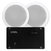 """SOUNDAROUND Wi-Fi Amplifier x2, Power Supply, 24Vdc, Two 5.25"""" In-Ceiling Speakers"""