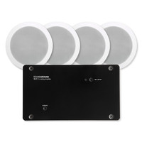 """SOUNDAROUND Wi-Fi Amplifier x4, Power Supply, 15Vdc, Four 5.25"""" In-Ceiling Speakers"""