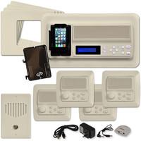 IST RETRO Music & Intercom System Package, 4 Rooms (Horizontal Frames), Almond