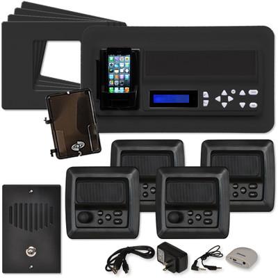 IST RETRO Music & Intercom System Package, 4 Rooms (Horizontal Frames), Black