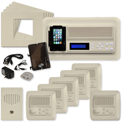 IST RETRO Music & Intercom System Package, 5 Rooms (Horizontal Frames), Almond