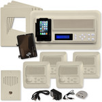 IST RETRO Music & Intercom System Package, 4 Rooms (Vertical Frames), Almond