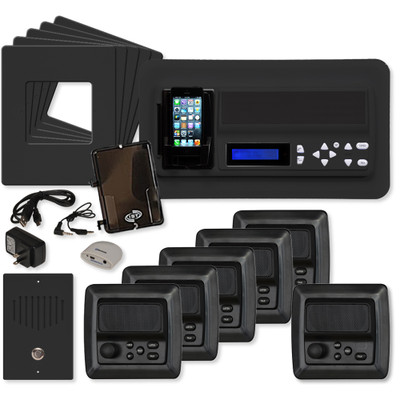 IST RETRO Music & Intercom System Package, 5 Rooms (Vertical Frames), Black