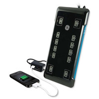 GE 12-Outlet Surge Protector, 8 Ft. Cord with Desktop USB
