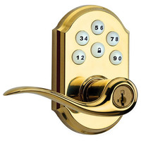 Kwikset SmartCode 912 Zigbee Traditional Leverset with Home Connect, Polished Brass