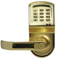 Linear DoorGard Electronic Access Control Cylindrical Lockset, Polished Brass/Left Hand