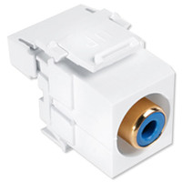 Leviton QuickPort RCA to 110 Snap-In Connector, Blue Insert, White