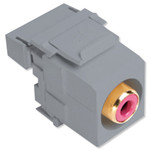 Leviton QuickPort RCA to 110 Snap-In Connector, Red Insert, Gray