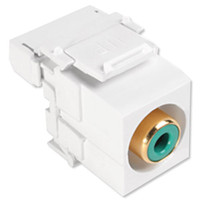 Leviton QuickPort RCA to 110 Snap-In Connector, Green Insert, White