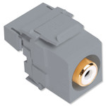 Leviton QuickPort RCA to 110 Snap-In Connector, White Insert, Gray