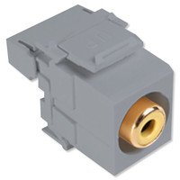Leviton QuickPort RCA to 110 Snap-In Connector, Yellow Insert, Gray