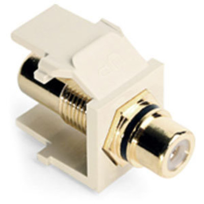 Leviton QuickPort RCA Snap-In Connector (Gold-Plated), Black Stripe, Almond