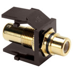 Leviton QuickPort RCA Snap-In Connector (Gold-Plated), Black Stripe, Brown
