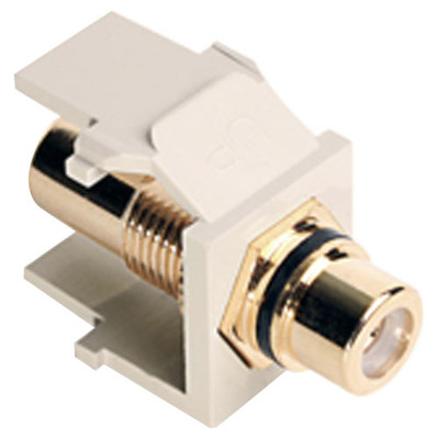 Leviton QuickPort RCA Snap-In Connector (Gold-Plated), Black Stripe, Light Almond