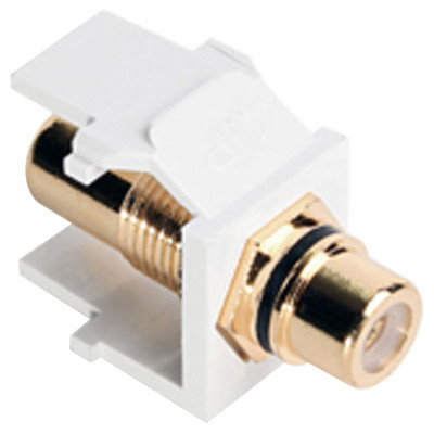 Leviton QuickPort RCA Snap-In Connector (Gold-Plated), Black Stripe, White