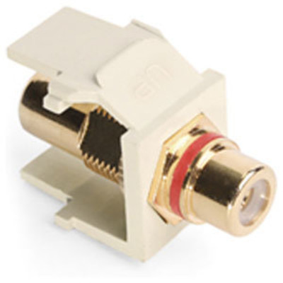 Leviton QuickPort RCA Snap-In Connector (Gold-Plated), Red Stripe, Almond