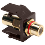 Leviton QuickPort RCA Snap-In Connector (Gold-Plated), Red Stripe, Brown
