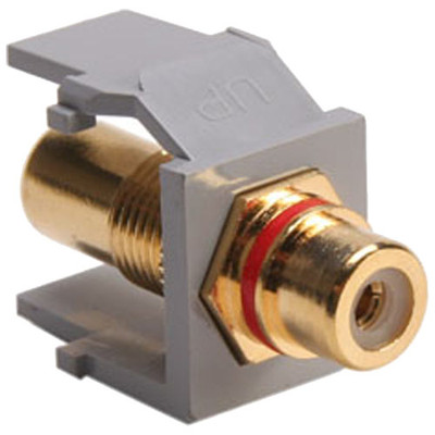 Leviton QuickPort RCA Snap-In Connector (Gold-Plated), Red Stripe, Gray