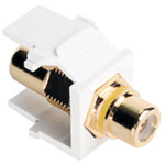 Leviton QuickPort RCA Snap-In Connector (Gold-Plated), Yellow Stripe, White