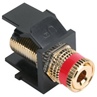 Leviton QuickPort Binding Post Snap-In Connector, Red Stripe, Black