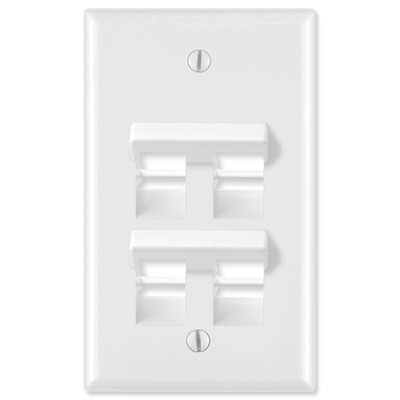 Leviton QuickPort Wallplate, 1-Gang, Angled 4-Port, White