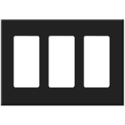 Leviton Decora Plus Screwless Snap-On Wallplate, 3-Gang, Black