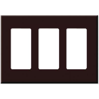 Leviton Decora Plus Screwless Snap-On Wallplate, 3-Gang, Brown