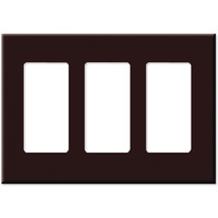 Leviton Decora Plus Screwless Snap-On Wallplate, 3-Gang, Brown