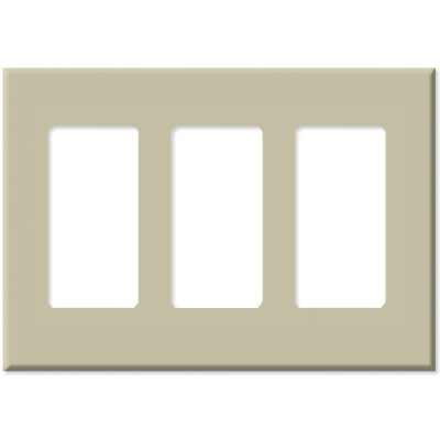 Leviton Decora Plus Screwless Snap-On Wallplate, 3-Gang, Ivory