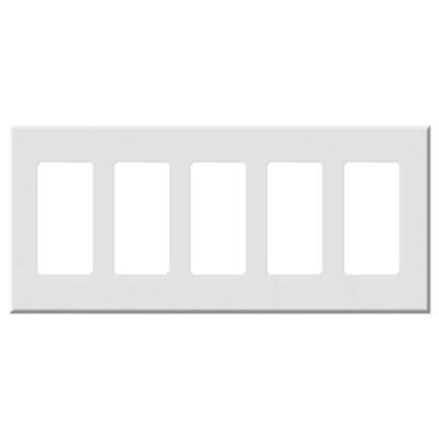 Leviton Decora Plus Screwless Snap-On Wallplate, 5-Gang, White