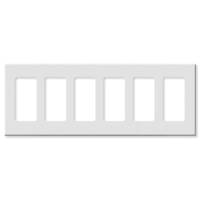 Leviton Decora Plus Screwless Snap-On Wallplate, 6-Gang, White