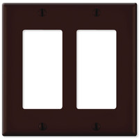 Leviton Decora Wallplate, 2-Gang, Brown