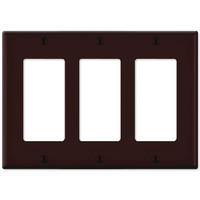 Leviton Decora Wallplate, 3-Gang, Brown