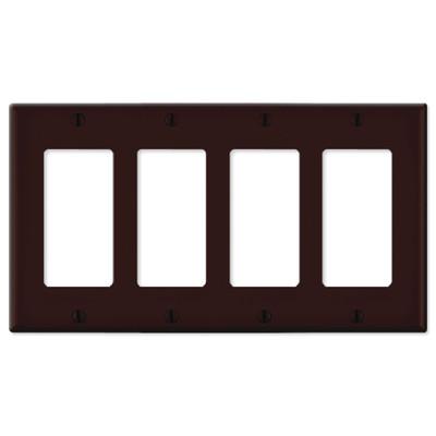 Leviton Decora Wallplate, 4-Gang, Brown
