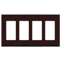 Leviton Decora Wallplate, 4-Gang, Brown