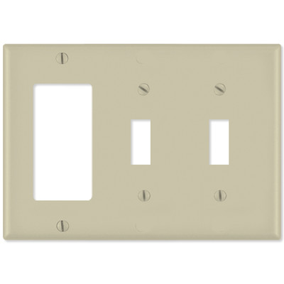 Leviton Combination Wallplate (1 Decora & 2 Toggle), Ivory