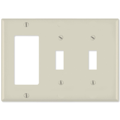 Leviton Combination Wallplate (1 Decora & 2 Toggle), Light Almond